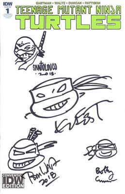 Kevin Eastman Bobby Curnow Mateus Santolouco Tom Waltz autographed and sketched Teenage Mutant Ninja Turtles 2018 Comic-Con comic book