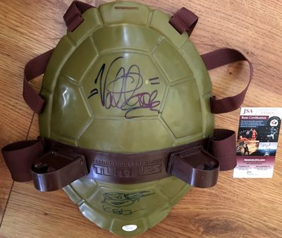 Kevin Eastman and Vanilla Ice autographed Teenage Mutant Ninja Turtles toy shell shield inscribed and sketched JSA