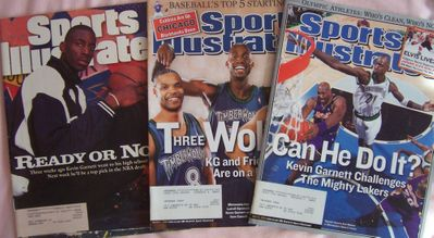 Kevin Garnett 1995 Sports Illustrated (first cover) & 2 other issues