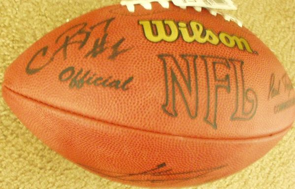 Kevin Jones & Charles Rogers autographed NFL game football