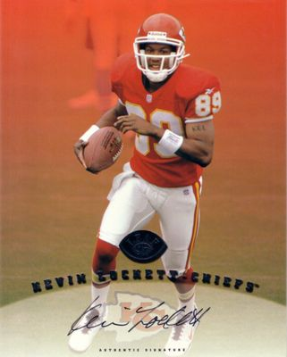 Kevin Lockett certified autograph Kansas City Chiefs 1997 Leaf 8x10 photo card