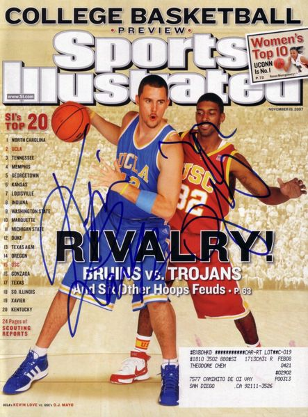 Kevin Love & O.J. Mayo autographed 2007 Sports Illustrated