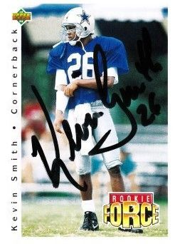 Kevin Smith autographed Dallas Cowboys 1992 Upper Deck Rookie Force card