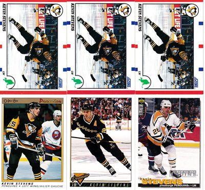 Kevin Stevens Pittsburgh Penguins 1990-91 O-Pee-Chee Premier and Score Rookie Card lot