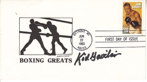 Kid Gavilan autographed Boxing Greats cachet 1993 Joe Louis First Day Cover