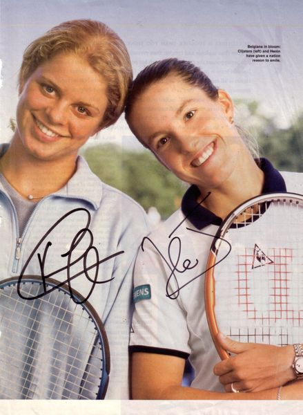 Kim Clijsters & Justine Henin autographed full page tennis magazine photo
