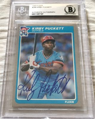 Kirby Puckett autographed Minnesota Twins 1985 Fleer Rookie Card Beckett Authenticated BAS