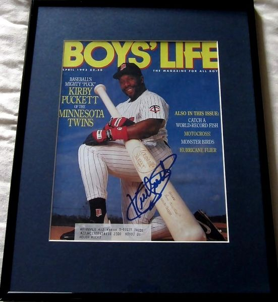 Kirby Puckett autographed Minnesota Twins 1993 Boys Life magazine cover matted & framed