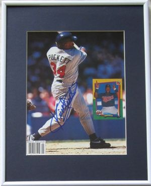 Kirby Puckett autographed Minnesota Twins Beckett Baseball magazine back cover photo matted & framed