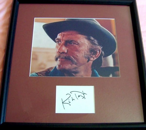 Kirk Douglas autograph matted and framed with A Gunfight 8x10 movie photo
