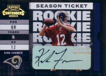 Kirk Farmer certified autograph 2003 Playoff Contenders Rookie Ticket card #943/999
