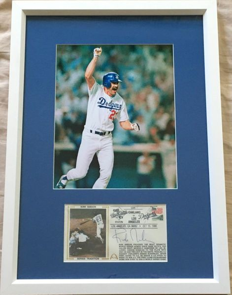 Kirk Gibson autographed Los Angeles Dodgers 1988 World Series HR cachet framed with 8x10 photo