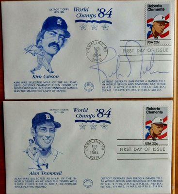Kirk Gibson autographed Detroit Tigers 1984 World Series Champions cachet envelope set