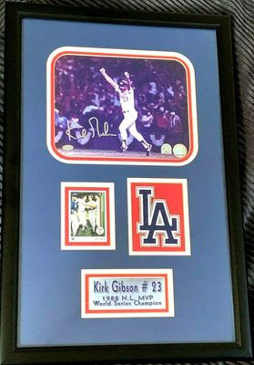 Kirk Gibson autographed Los Angeles Dodgers 1988 World Series HR 8x10 photo framed (Mounted Memories and MLB authenticated)
