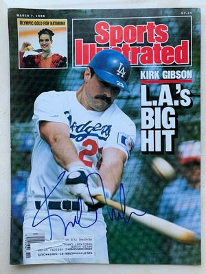 Kirk Gibson autographed Los Angeles Dodgers 1988 Sports Illustrated magazine cover