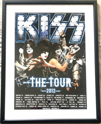 KISS complete group autographed 2012 tour poster matted and framed (Gene Simmons Paul Stanley)