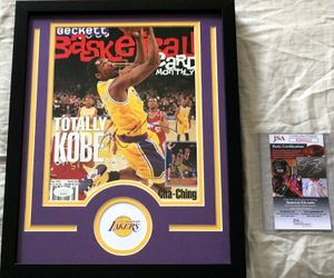 Kobe Bryant autographed Los Angeles Lakers Beckett Basketball magazine cover matted and framed (JSA)