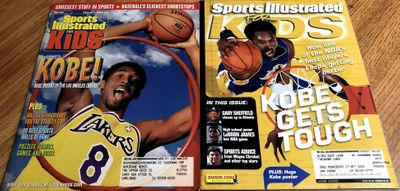 Kobe Bryant Los Angeles Lakers 1999 and 2002 Sports Illustrated for Kids magazine set with posters inside