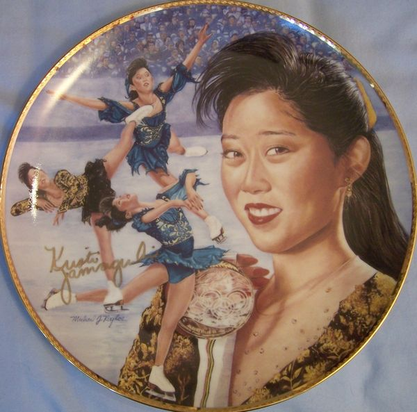 Kristi Yamaguchi autographed 1992 figure skating gold medal Gartlan commemorative plate ltd edit 950