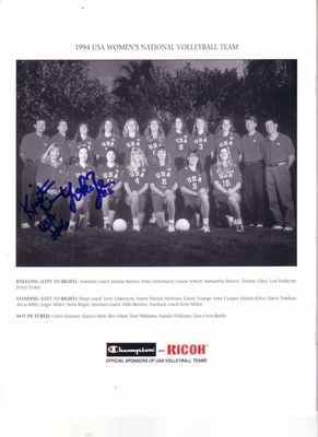 Kristin Klein & Yoko Zetterlund autographed 1994 USA Volleyball Team photo