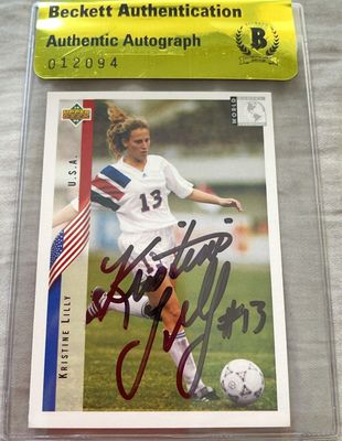 Kristine Lilly autographed 1994 Upper Deck U.S. Soccer Rookie Card (BAS authenticated)