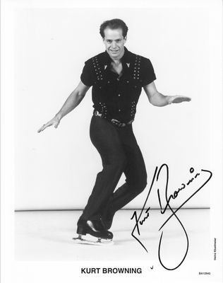 Kurt Browning autographed 8x10 black & white skating photo