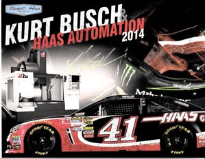 Kurt Busch autographed Haas Automation 2014 NASCAR 8 1/2 x 11 photo card