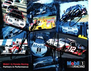 Kurt Busch Sam Hornish Jr. Ryan Newman autographed 2007 Mobil Racing 8x10 NASCAR photo card