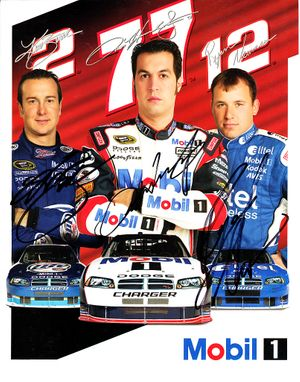 Kurt Busch Sam Hornish Jr. Ryan Newman autographed 2008 Mobil Racing 8x10 photo