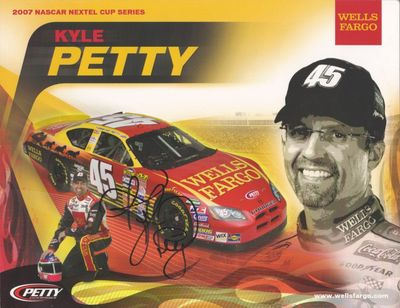 Kyle Petty autographed 2007 Wells Fargo NASCAR photo card