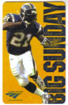 LaDainian Tomlinson 2004 San Diego Chargers plastic pocket schedule