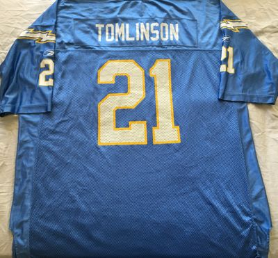 LaDainian Tomlinson San Diego Chargers authentic Reebok replica powder blue throwback 2XL jersey