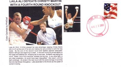 Laila Ali Defeats Christy Martin 2003 cachet envelope