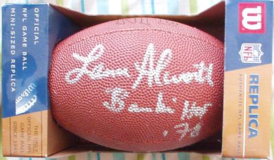 Lance Alworth autographed mini NFL football inscribed Bambi HOF 78