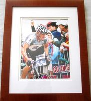 Lance Armstrong autographed Tour de France 8x10 photo matted and framed