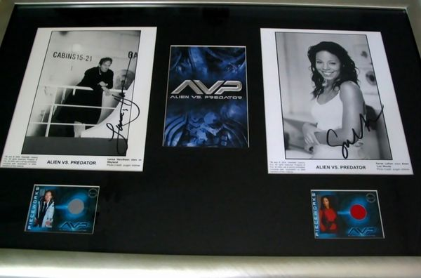 Lance Henriksen & Sanaa Lathan autographed Alien vs Predator 8x10 movie photos matted & framed with costume cards
