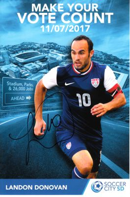 Landon Donovan autographed U.S. Soccer 6x9 photo card