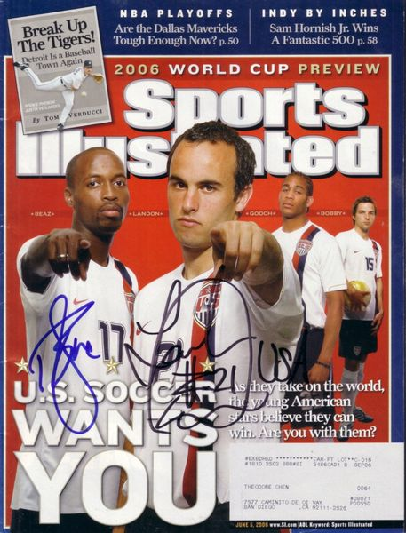 Landon Donovan and DaMarcus Beasley autographed 2006 US Soccer World Cup Sports Illustrated