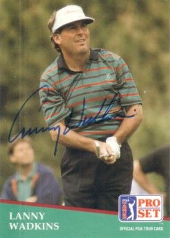 Lanny Wadkins autographed 1991 Pro Set golf card