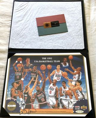 Larry Bird autographed 1992 USA Dream Team Upper Deck card sheet with leatherette folder (UDA)