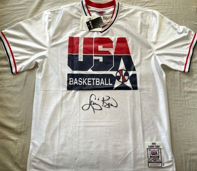 Larry Bird autographed 1992 USA Dream Team authentic Mitchell and Ness warmup jersey or shooting shirt (Schwartz Sports)