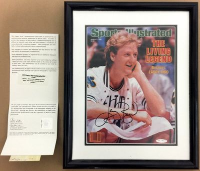 Larry Bird autographed Boston Celtics 1986 Sports Illustrated cover matted and framed (UDA)