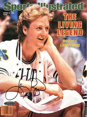 Larry Bird autographed Boston Celtics 1986 Sports Illustrated cover print matted and framed (UDA)