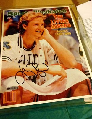Larry Bird autographed Boston Celtics 1986 Sports Illustrated UDA cover print with lucite holder and gift box