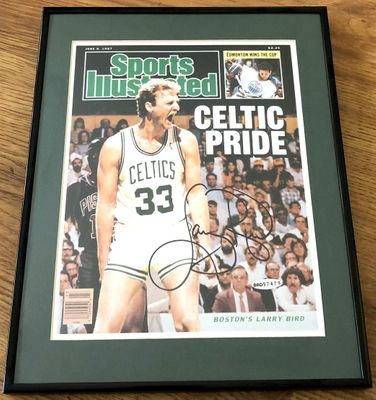 Larry Bird autographed Boston Celtics 1987 Sports Illustrated cover matted and framed (UDA)