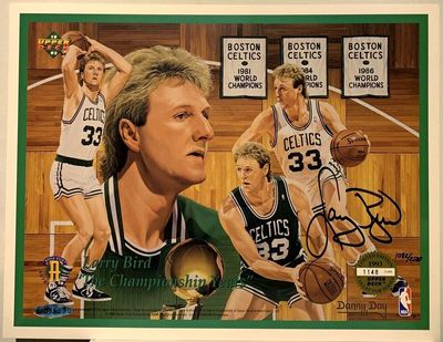 Larry Bird autographed Boston Celtics Championship Years 1993 Upper Deck card sheet #1082/2500 (UDA)