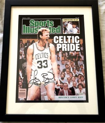 Larry Bird autographed 1987 Boston Celtics Sports Illustrated cover print matted and framed (UDA)