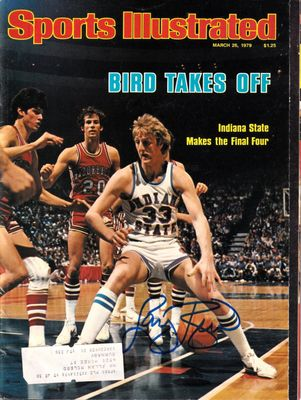 Larry Bird autographed Indiana State Sycamores 1979 Sports Illustrated magazine (Schwartz Sports)