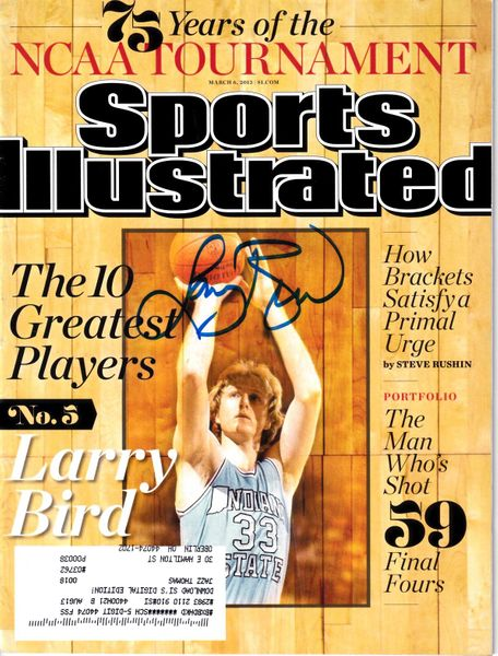 Larry Bird autographed Indiana State Sycamores 2013 Sports Illustrated magazine (Schwartz Sports)