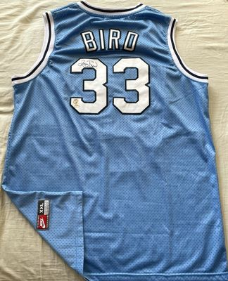 Larry Bird autographed Indiana State Sycamores authentic Nike stitched blue jersey (Schwartz Sports)